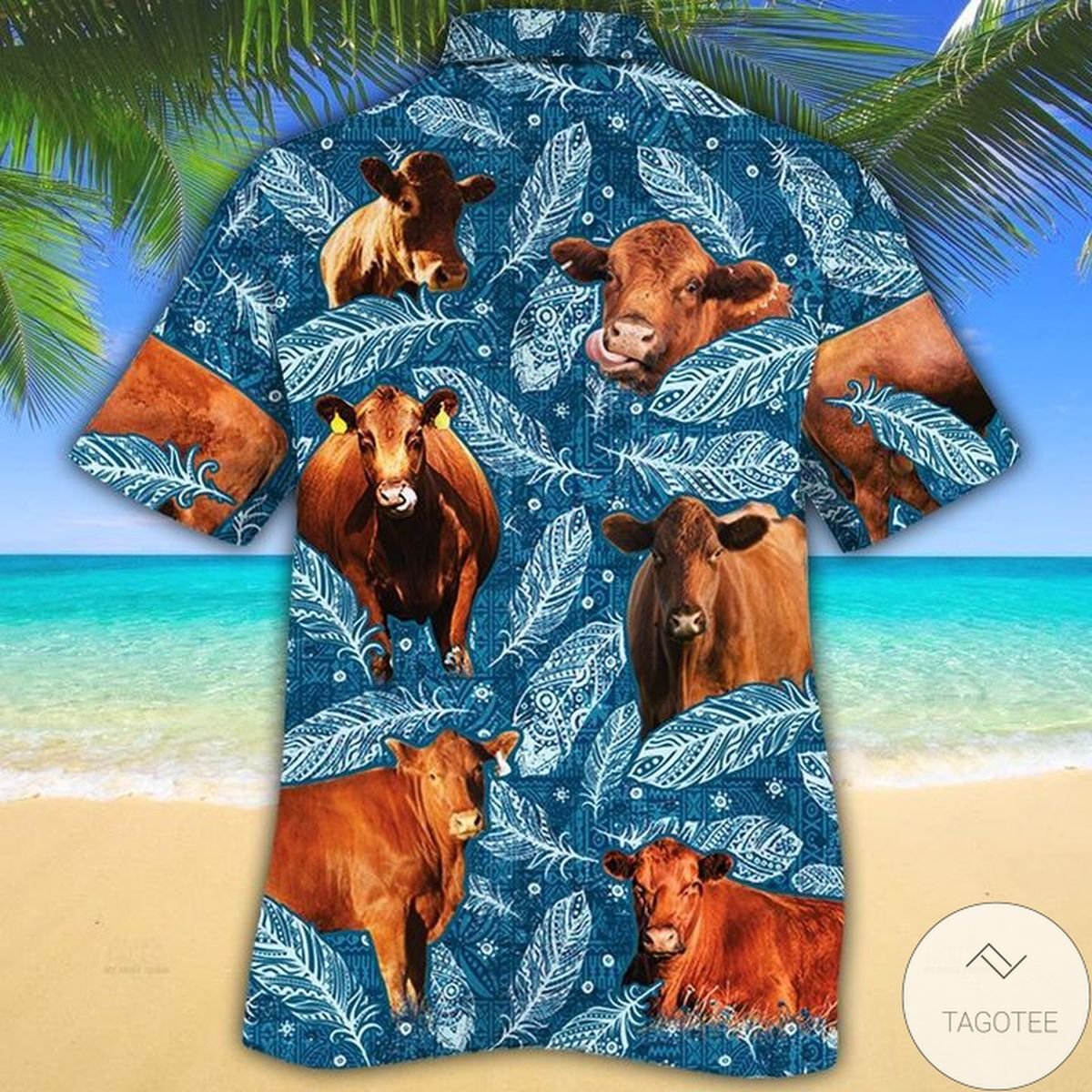 Amazon Red Angus Cattle Lovers Blue Feather Hawaiian Shirt
