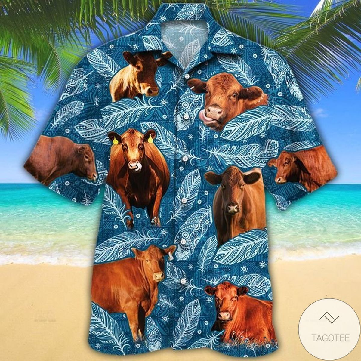 Adult Red Angus Cattle Lovers Blue Feather Hawaiian Shirt