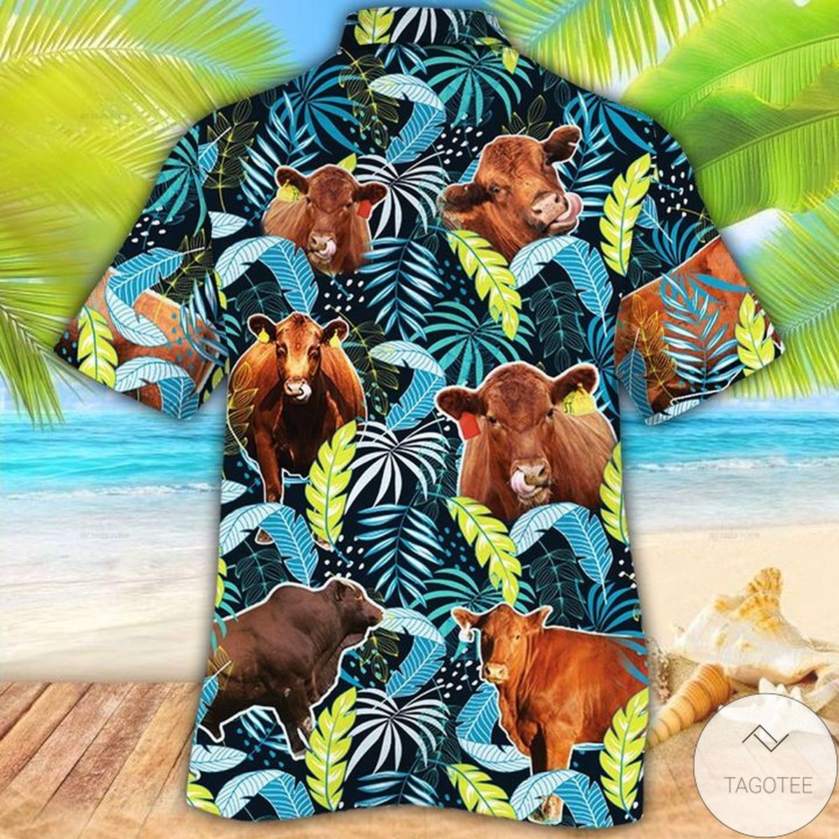 Best Red Angus Cattle Lovers Jungle Leaves Hawaiian Shirt