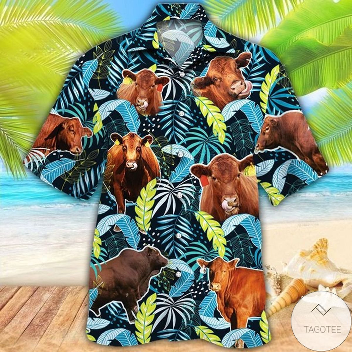 Adorable Red Angus Cattle Lovers Jungle Leaves Hawaiian Shirt