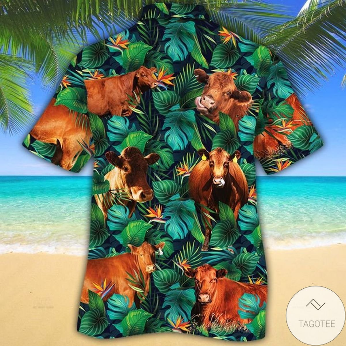 Amazing Red Angus Cattle Lovers Tropical Leaves Hawaiian Shirt