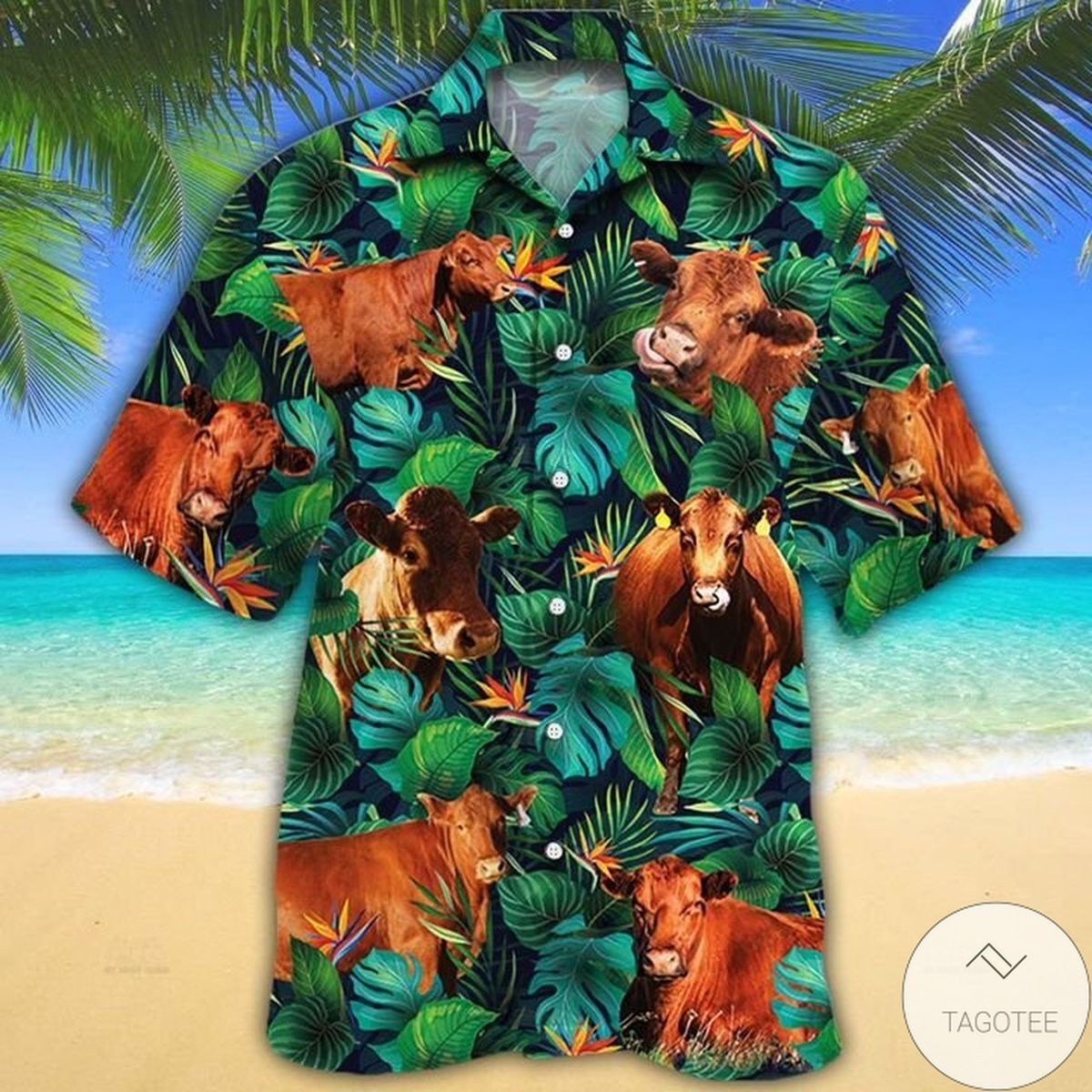 Hot Deal Red Angus Cattle Lovers Tropical Leaves Hawaiian Shirt