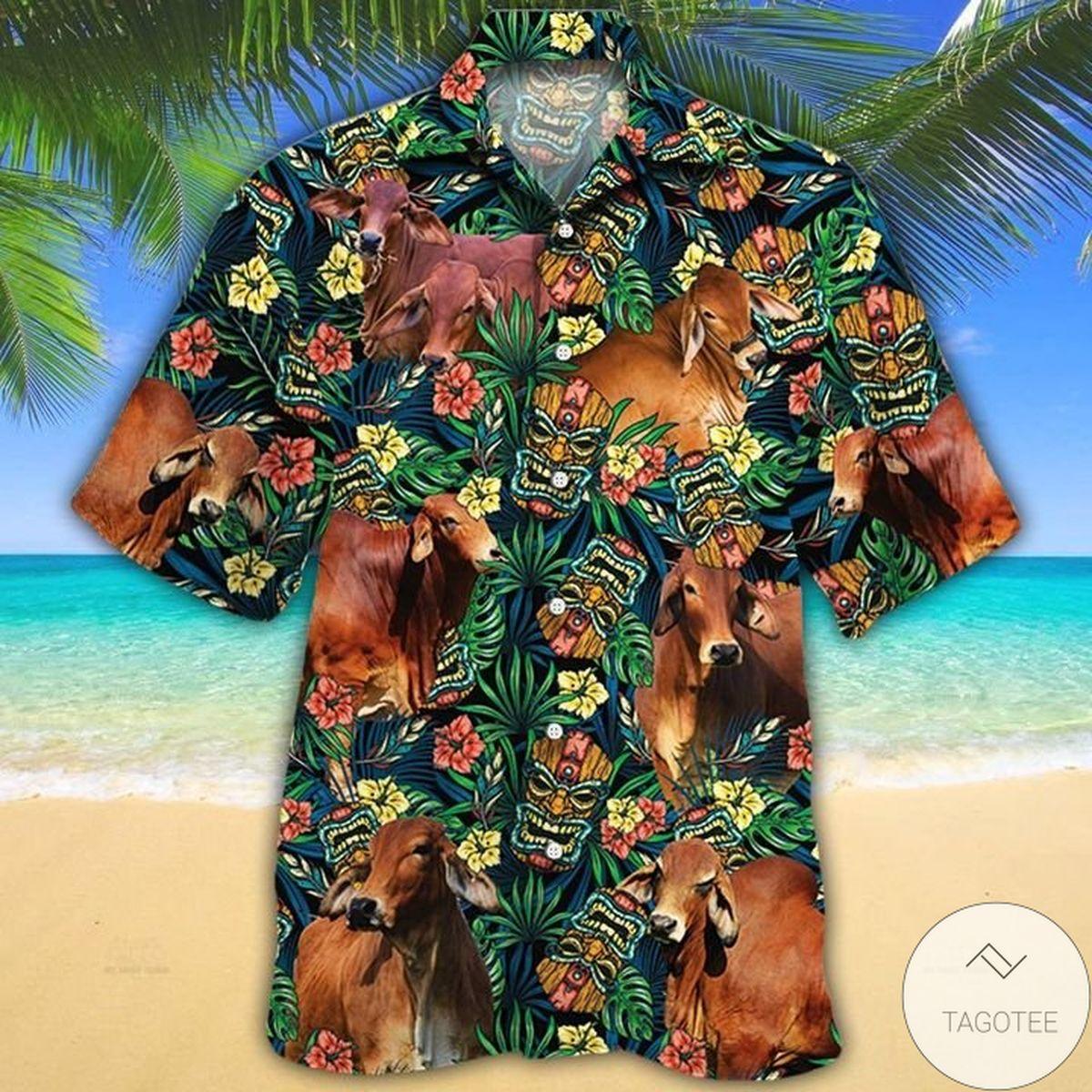 Red Brahman Cattle Lovers Tribal Tiki Mask Hawaiian Shirt
