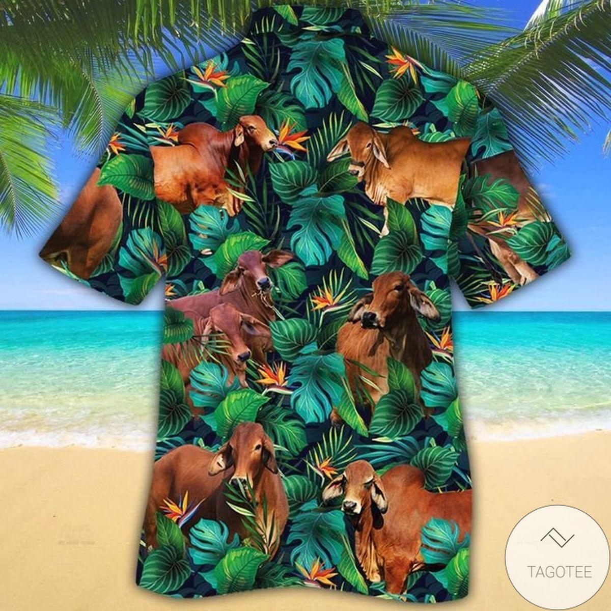 Amazing Red Brahman Cattle Lovers Tropical Leaves Hawaiian Shirt