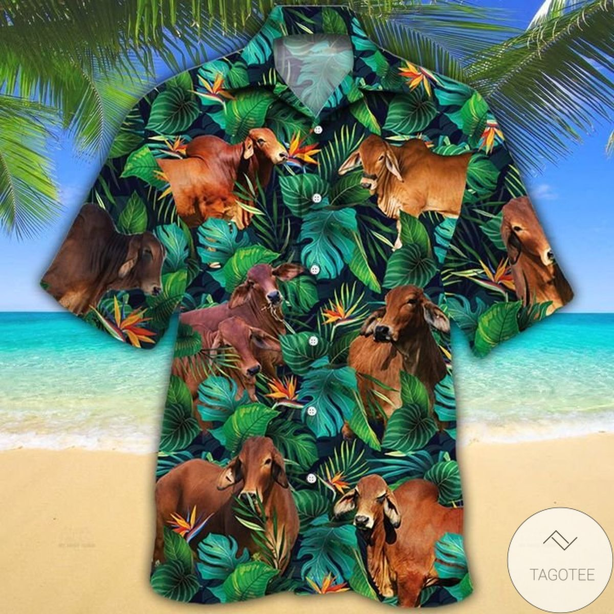 Awesome Red Brahman Cattle Lovers Tropical Leaves Hawaiian Shirt