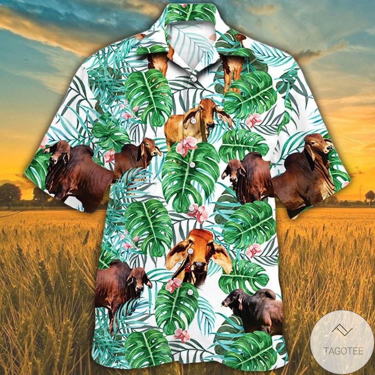 Red Brahman Cattle Lovers Tropical Plant Hawaiian Shirt