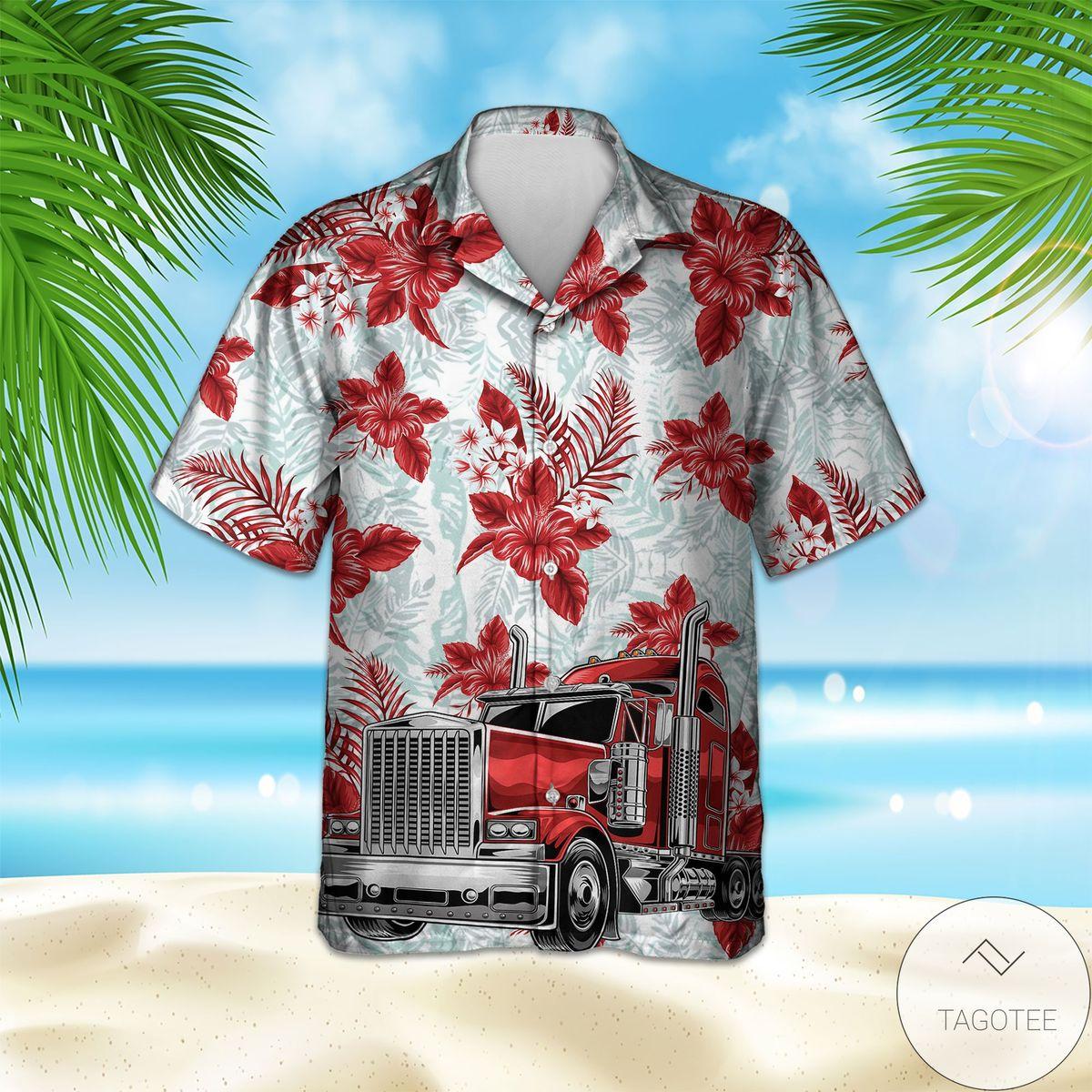 Red Truck Flower Hawaiian Shirt