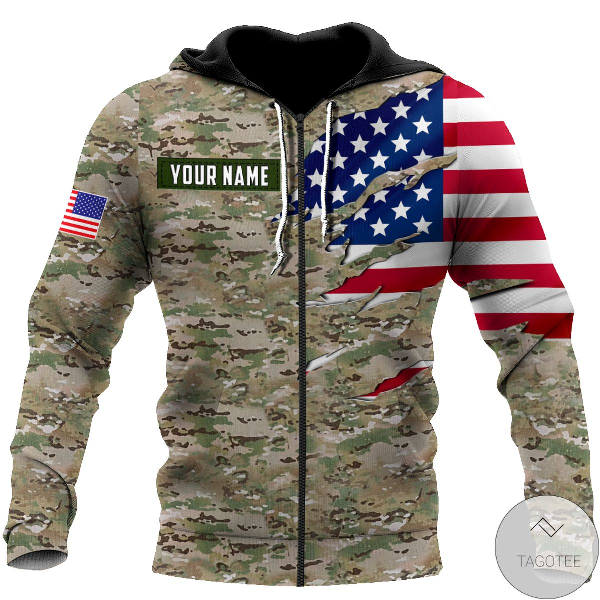 Beautiful Remembrance The United States Camo Soldier 3D All Over Print Hoodie