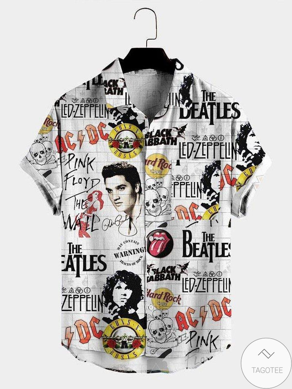 Fantastic Rock And Roll Hippie Print Unisex Hawaiian Shirt