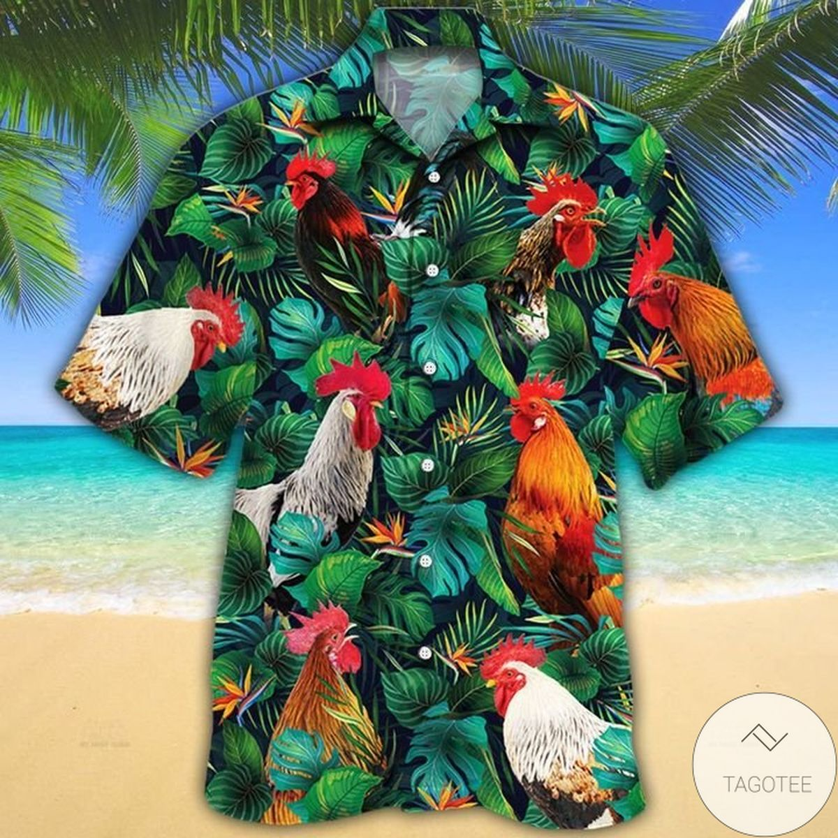 Drop Shipping Rooster Lovers Tropical Leaves Hawaiian Shirt