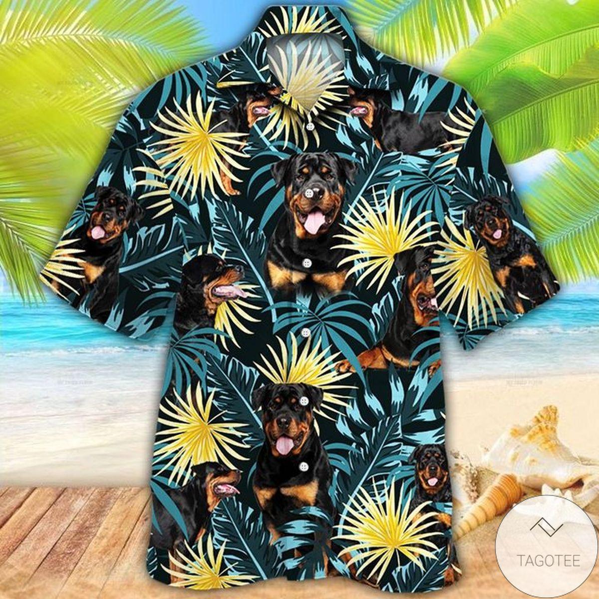 Rottweiler Dog Lovers Blue And Yellow Plants Hawaiian Shirt