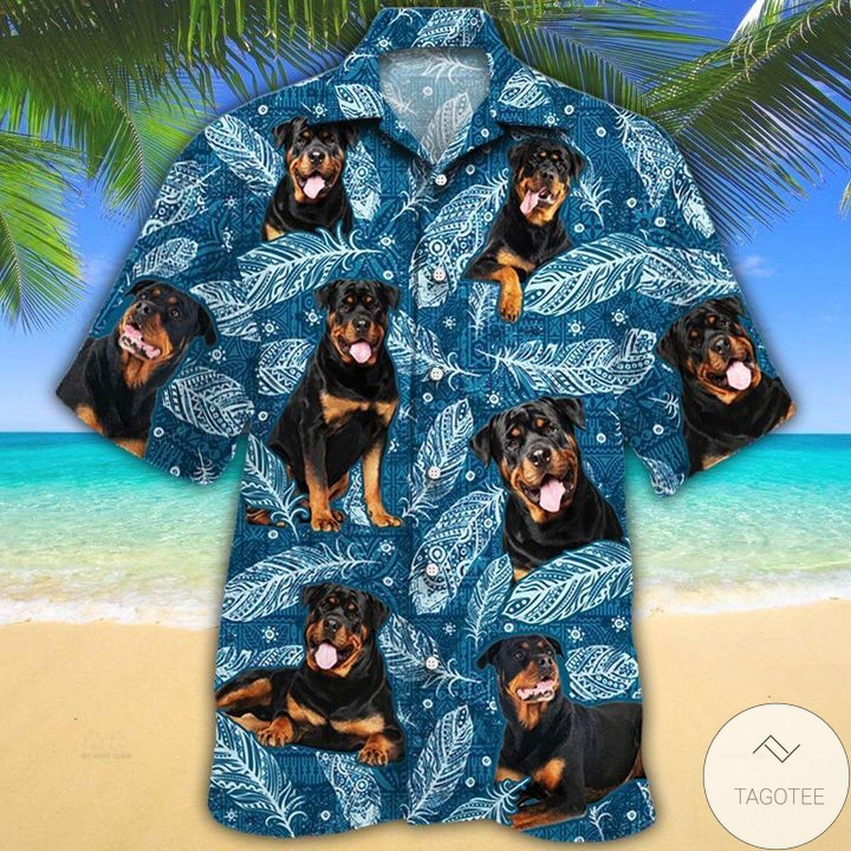 Rottweiler Dog Lovers Blue Feather Hawaiian Shirt