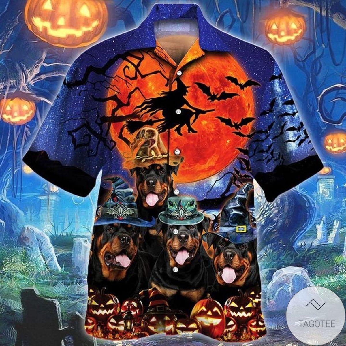 Rottweiler Dog Lovers Halloween Night Hawaiian Shirt