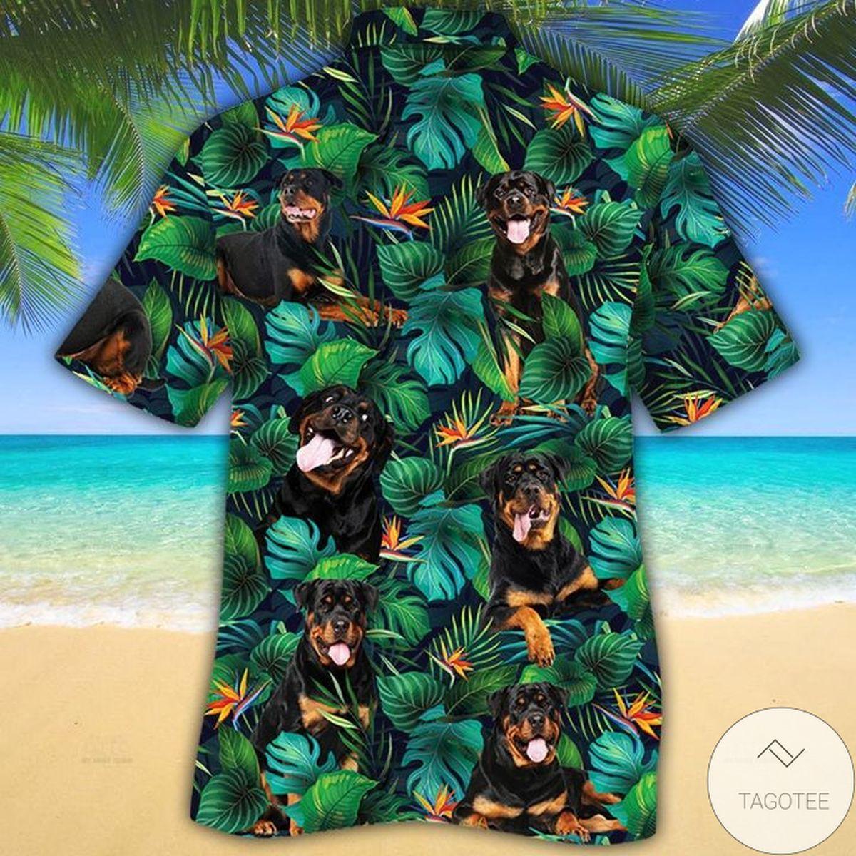 Ships From USA Rottweiler Dog Lovers Tropical Leaves Hawaiian Shirt