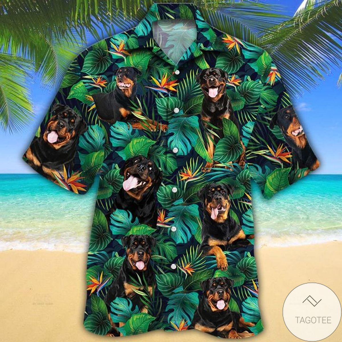 Free Rottweiler Dog Lovers Tropical Leaves Hawaiian Shirt