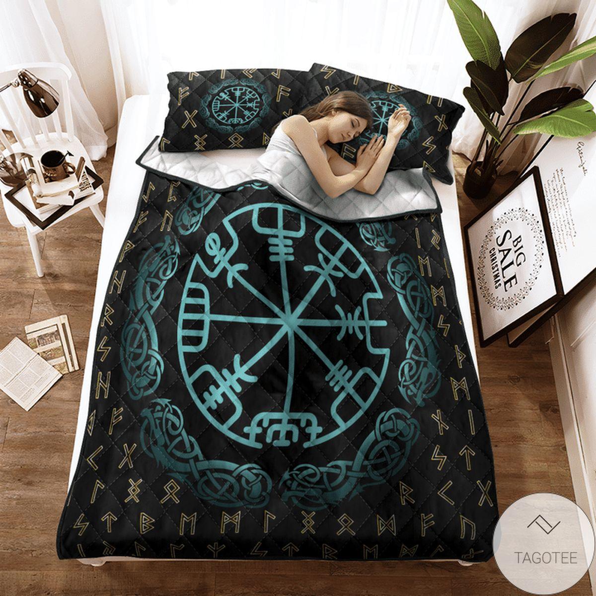 Best Rune Vegvisir - Viking Quilt Bedding Set