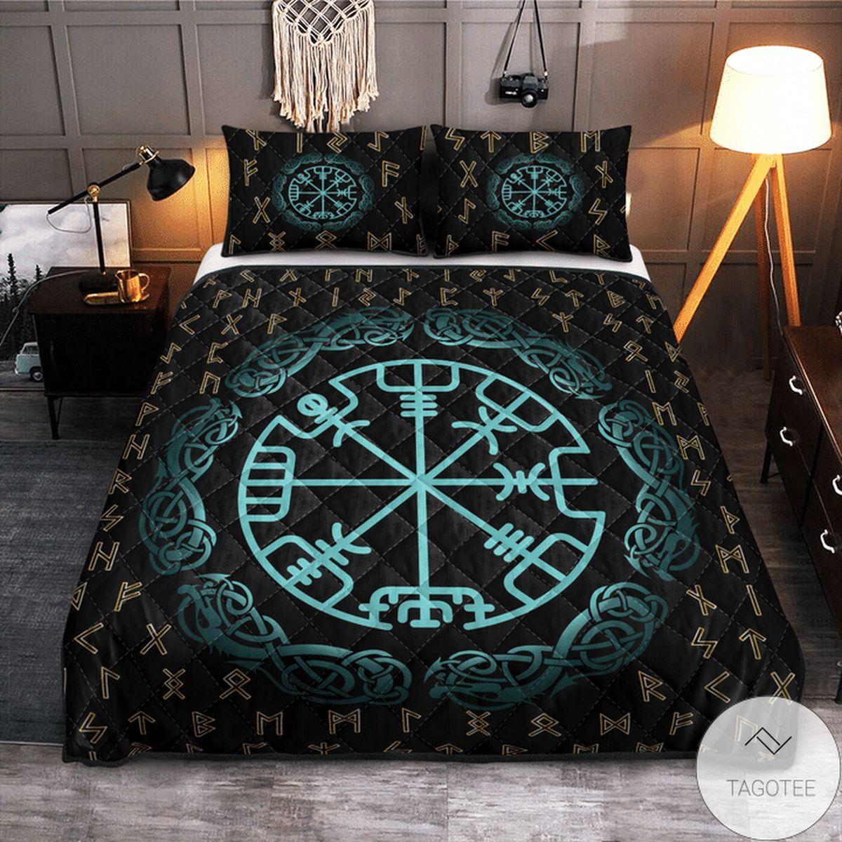 Free Ship Rune Vegvisir - Viking Quilt Bedding Set