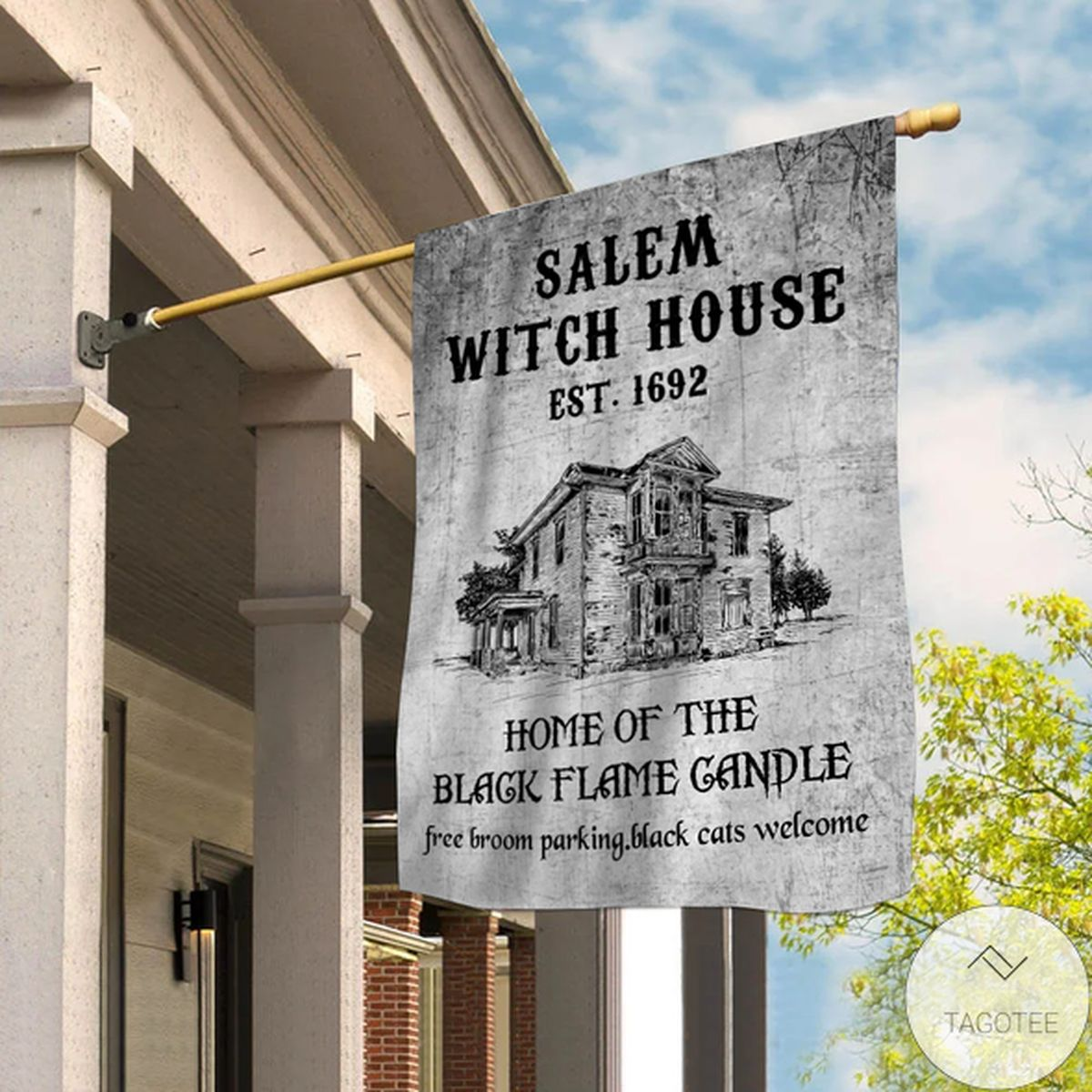 Salem Witch House Home Of The Black Flame Candle Garden Flag