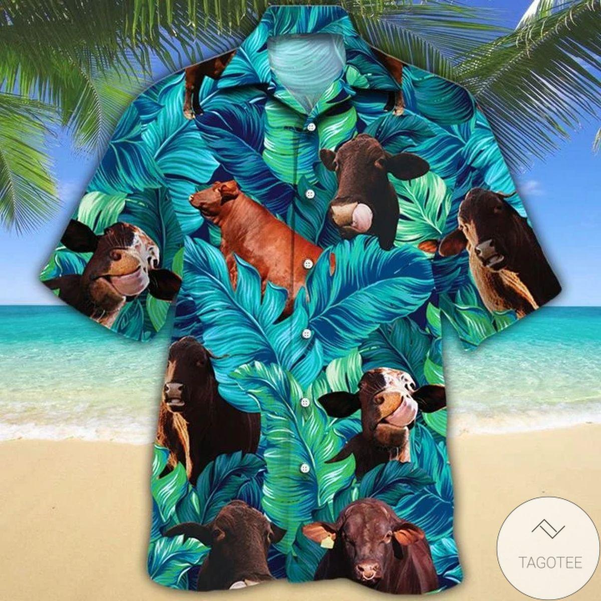 Santa Gertrudis Cattle Lovers Hawaiian Shirt