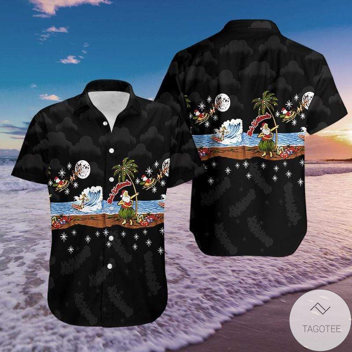 Santa Hula Mele Kalikimaka Christmas Hawaiian Shirt