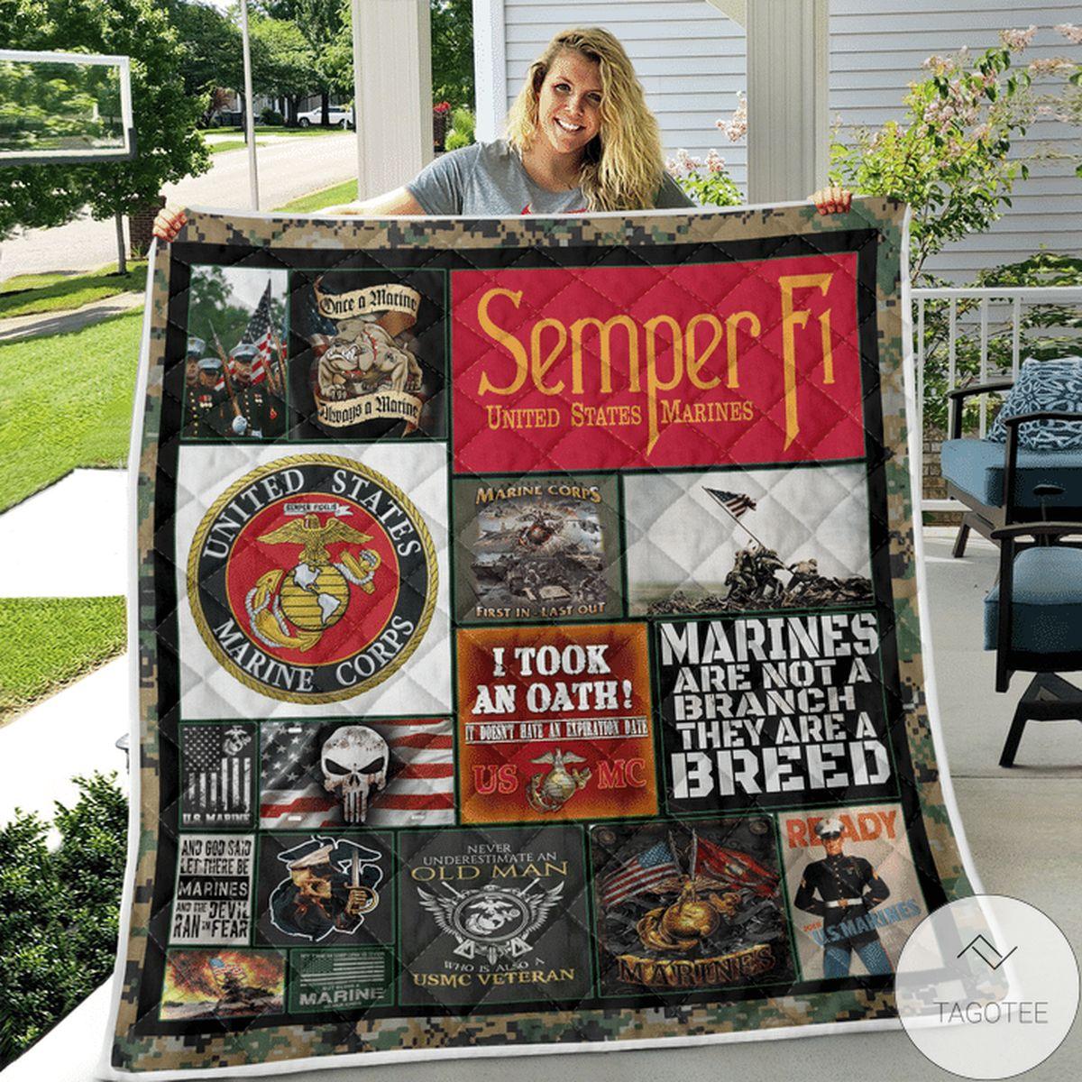 Present Semper Fi Marine Quilt