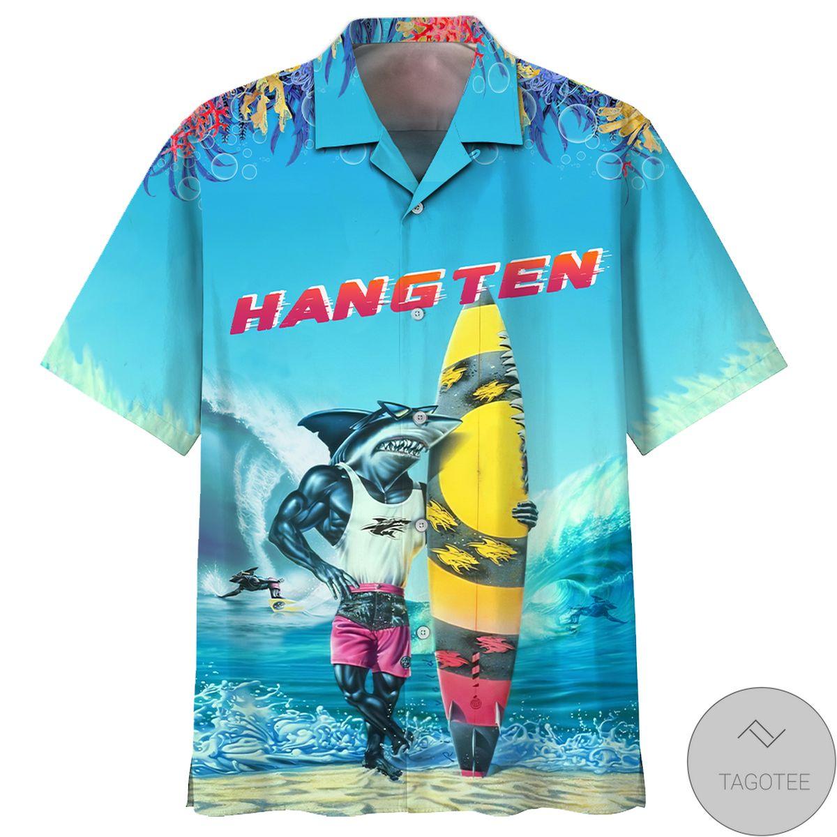 Nice Shark Hang Ten Hawaiian Shirt
