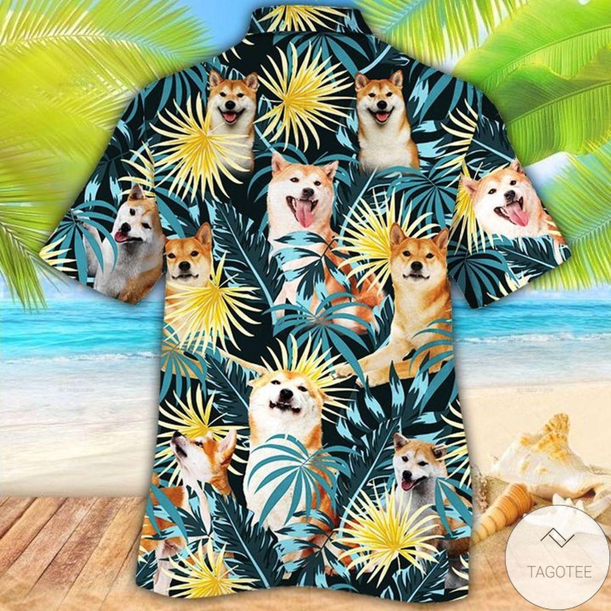 Top Selling Shiba Inu Dog Lovers Blue And Yellow Plants Hawaiian Shirt