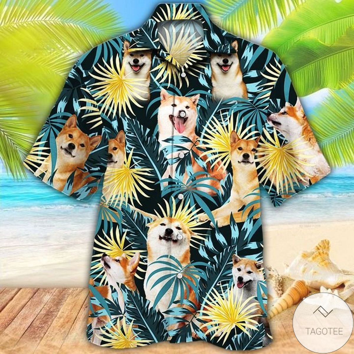 Handmade Shiba Inu Dog Lovers Blue And Yellow Plants Hawaiian Shirt