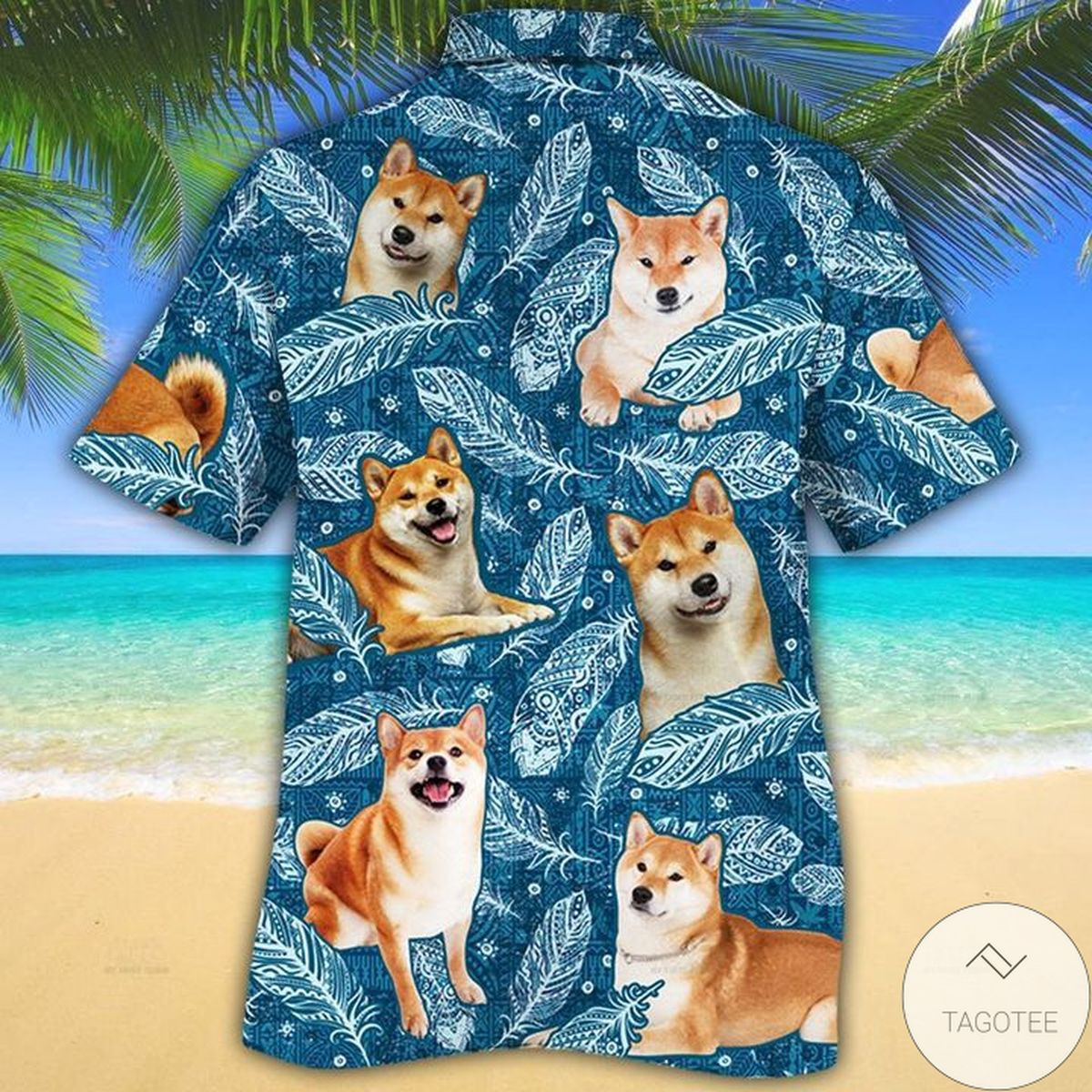 Hot Shiba Inu Dog Lovers Blue Feather Hawaiian Shirt