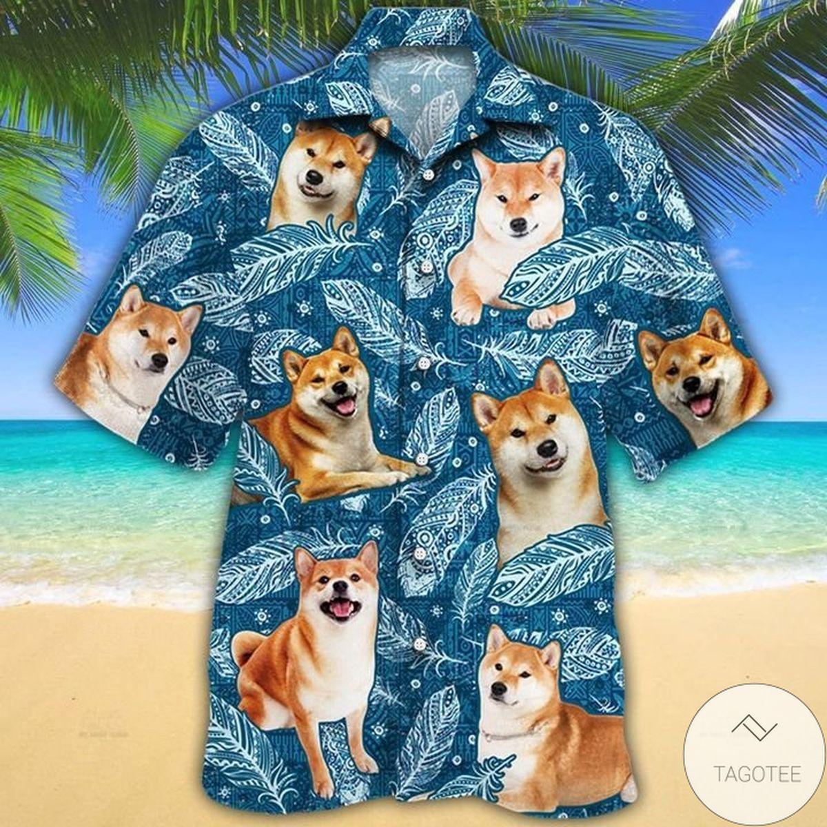 Drop Shipping Shiba Inu Dog Lovers Blue Feather Hawaiian Shirt