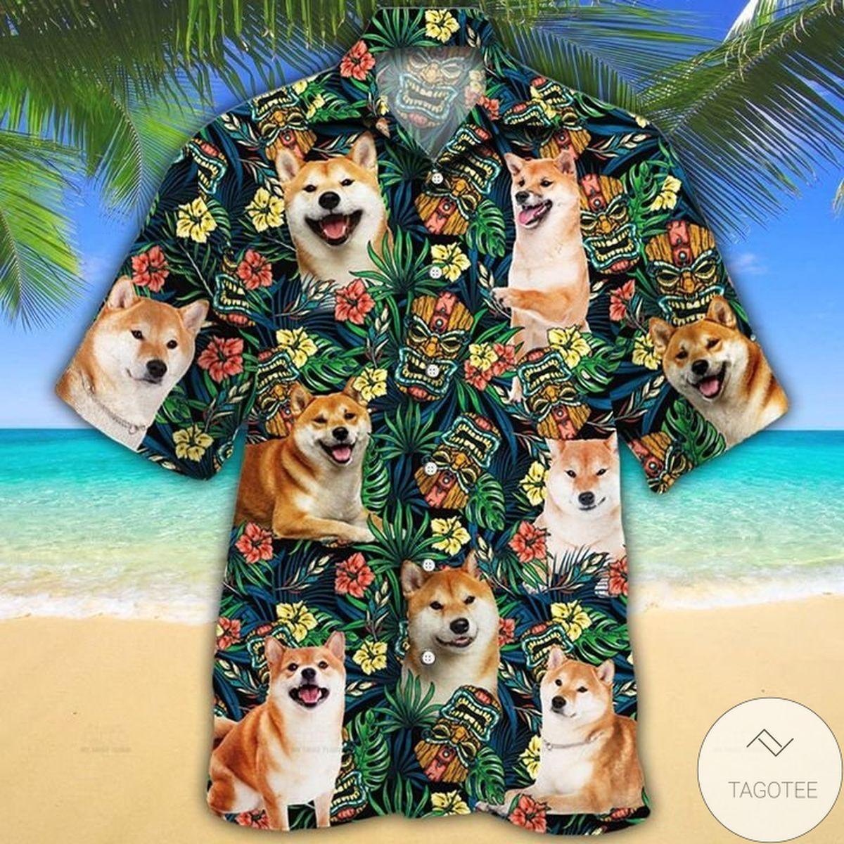 Shiba Inu Dog Lovers Tribal Tiki Mask Hawaiian Shirt