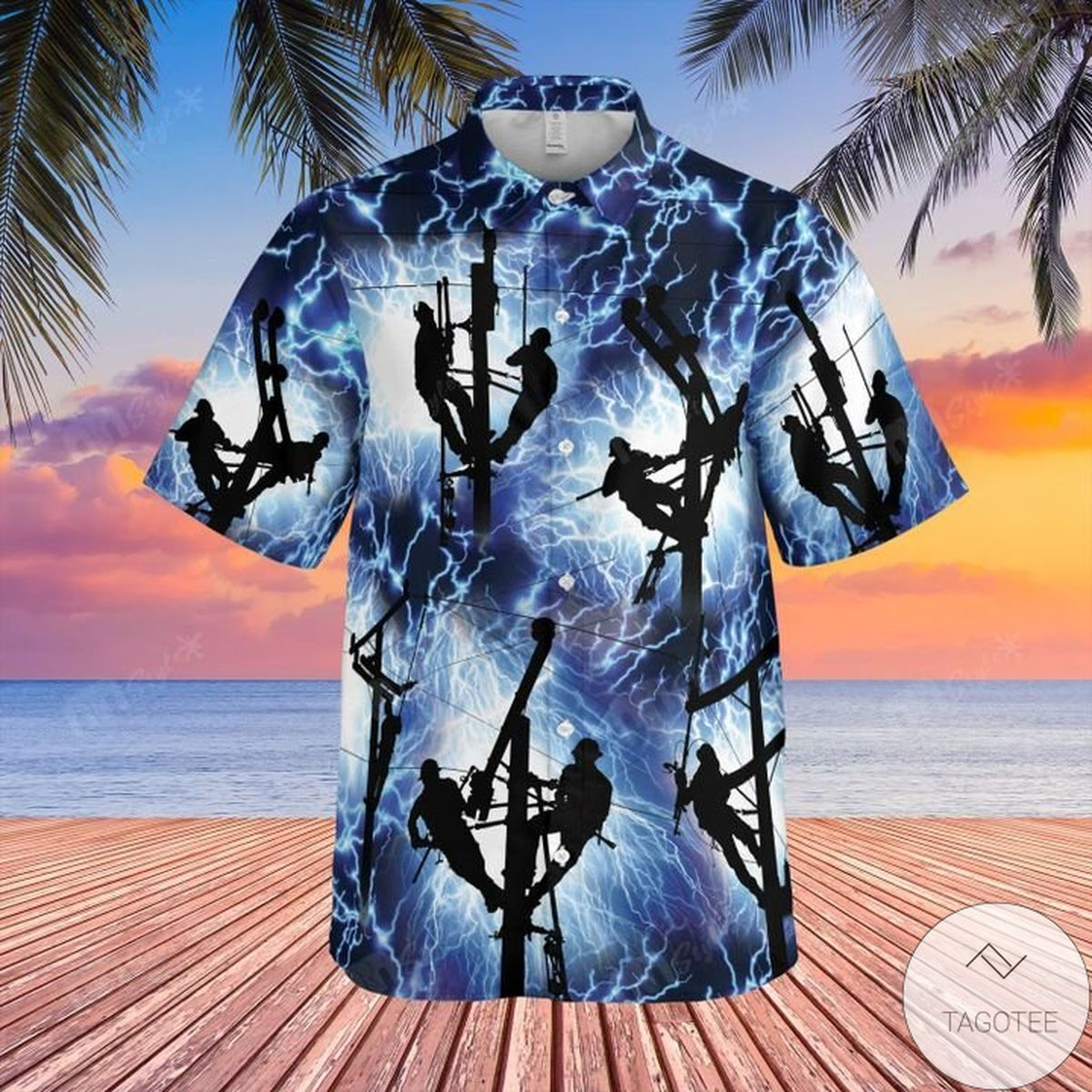 Top Short Lineman Lightning Hawaiian Shirt