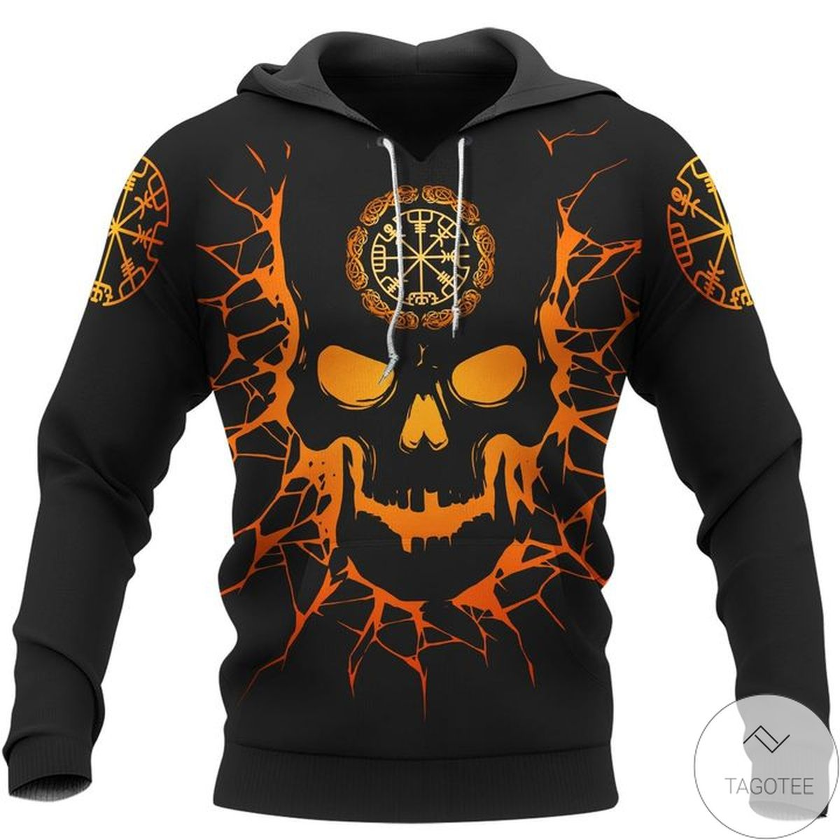 Limited Edition Skull Viking And Backbone Is An Ax Viking Hoodie