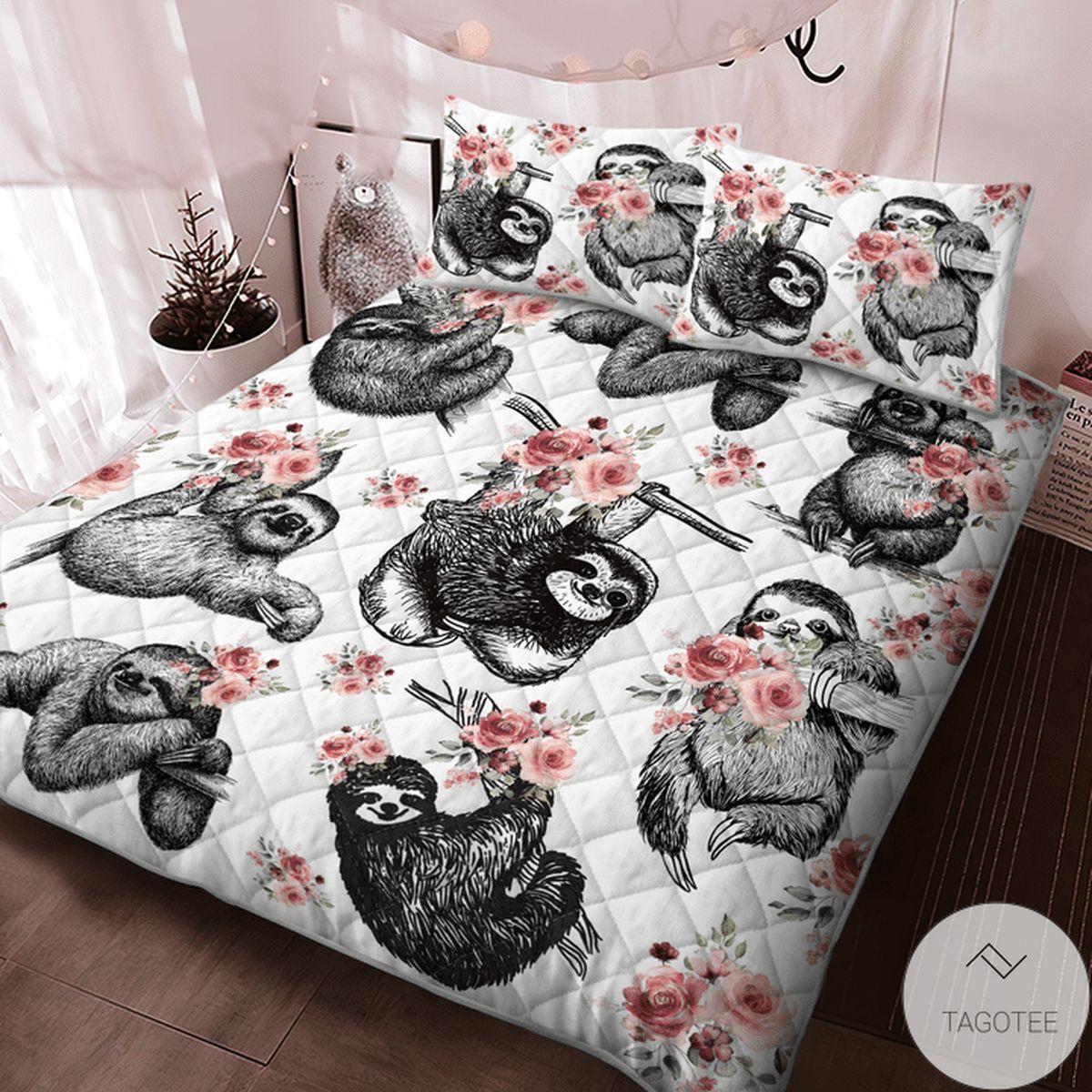 Print On Demand Sloth Flower Quilt Bedding Set