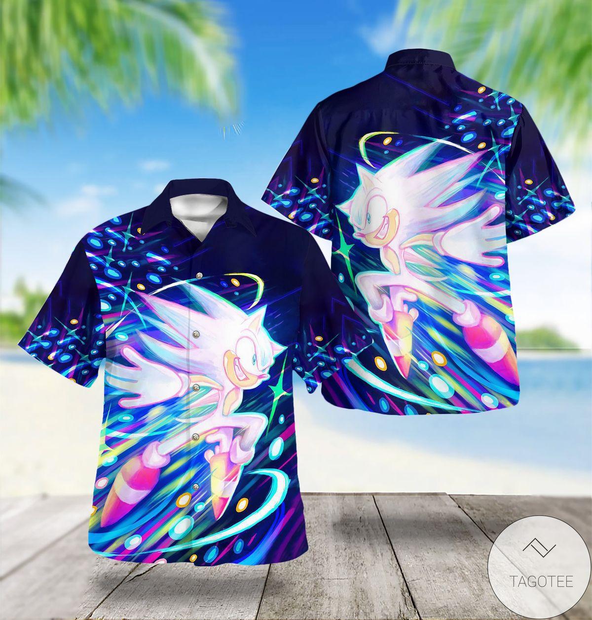 Nice Sonic Wave Hedgehog Hawaiian Shirt
