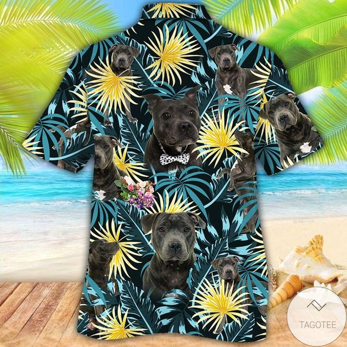 Fantastic Staffordshire Bull Terrier Dog Lovers Blue And Yellow Plants Hawaiian Shirt