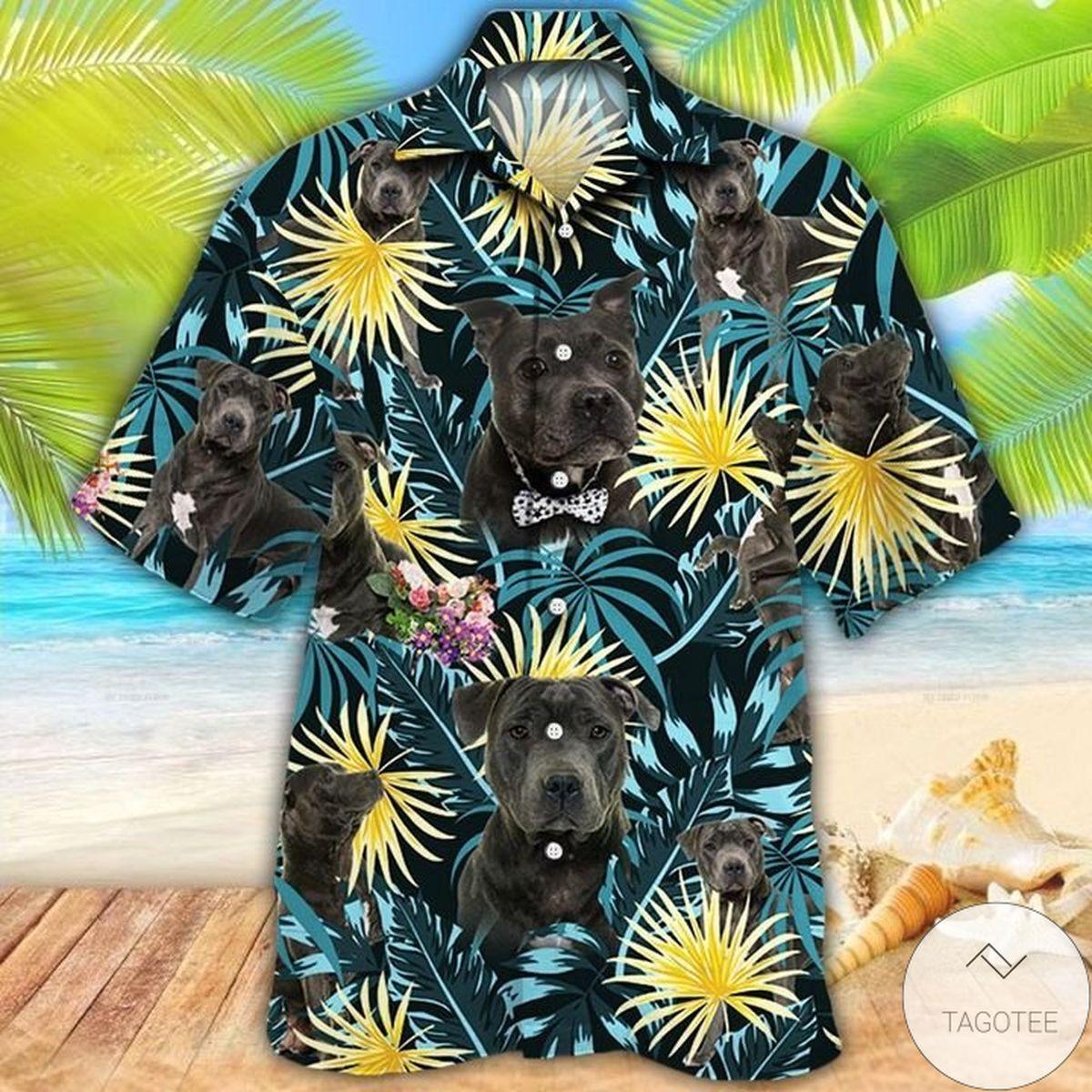 Free Staffordshire Bull Terrier Dog Lovers Blue And Yellow Plants Hawaiian Shirt
