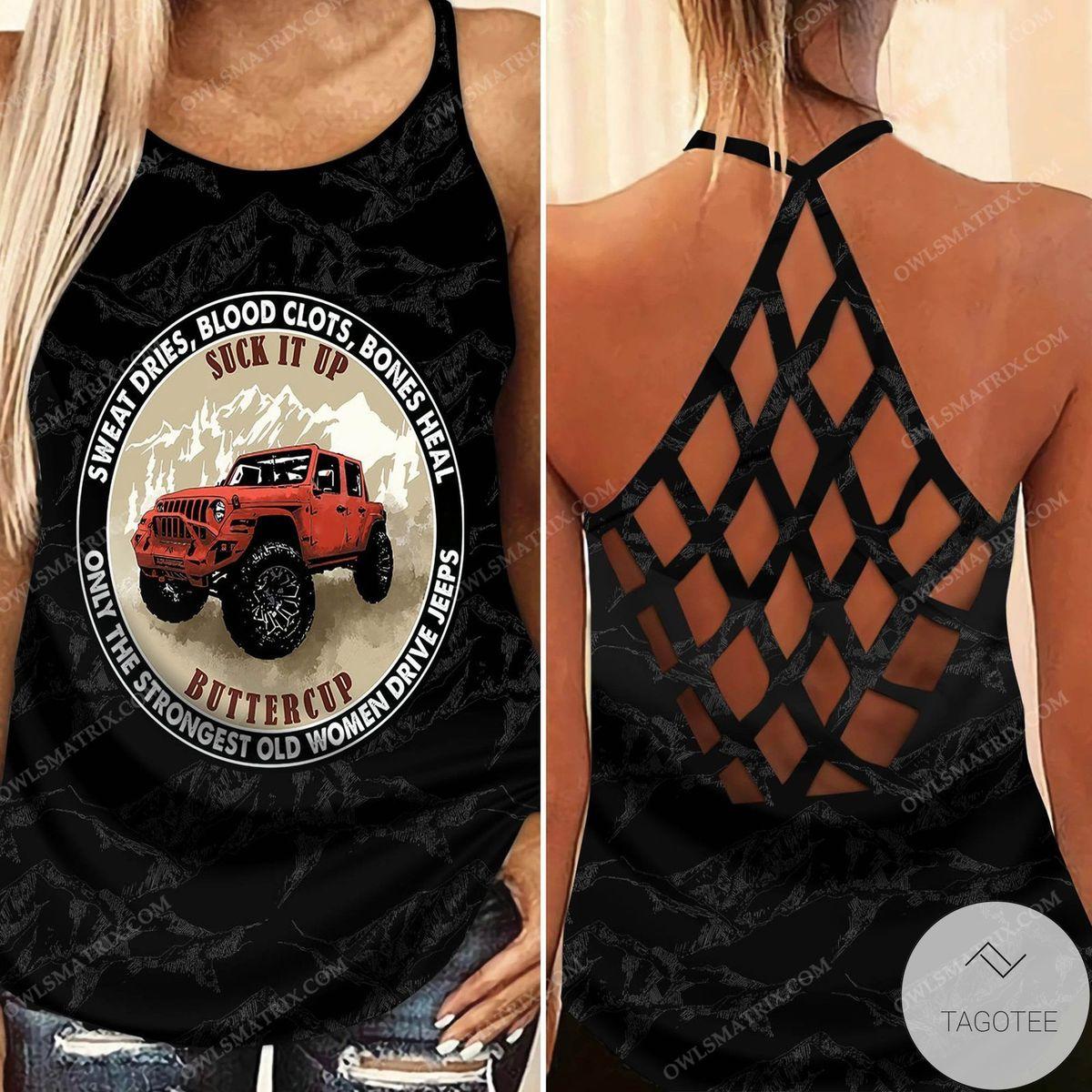 Suck It Up Buttercup Jeep Criss Cross Tank Top