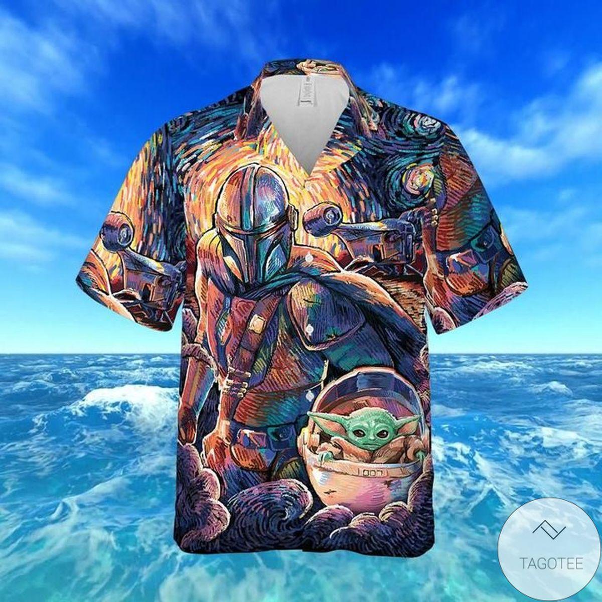 Unisex Surfing Bounty Hunter Baby Yoda Hawaiian Shirt