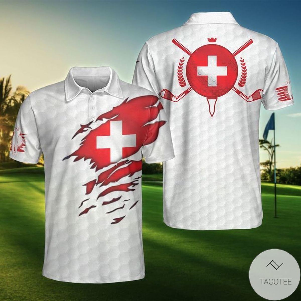 Switzerland Flag Golfer Polo Shirt