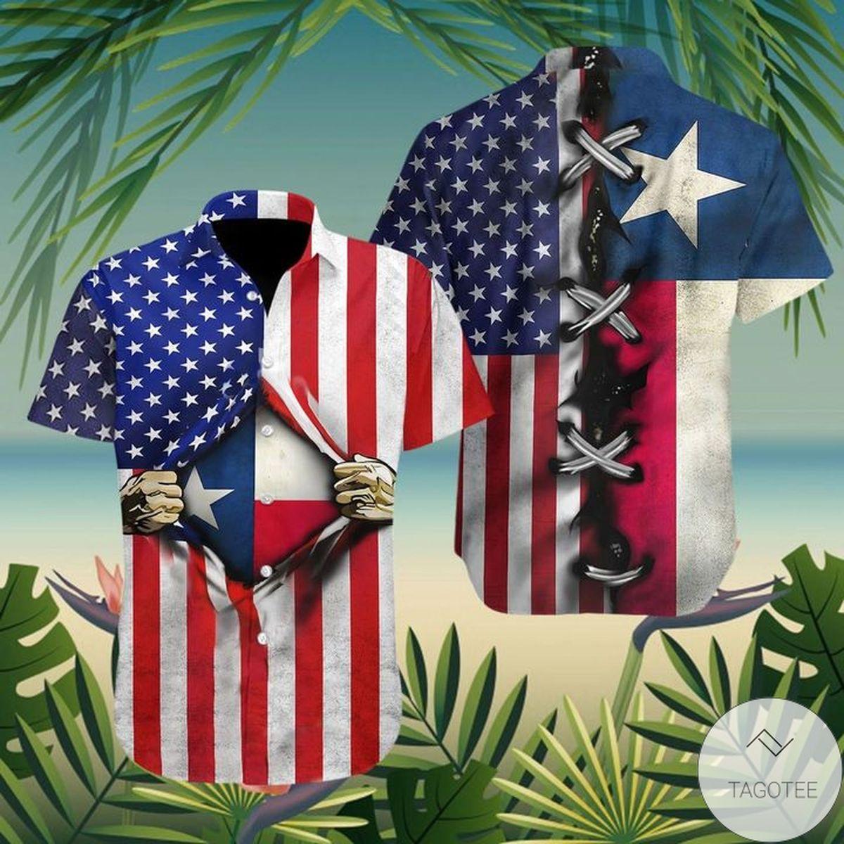 Buy In US Texas Flag Heart And American Heart Flag Hawaiian Shirt