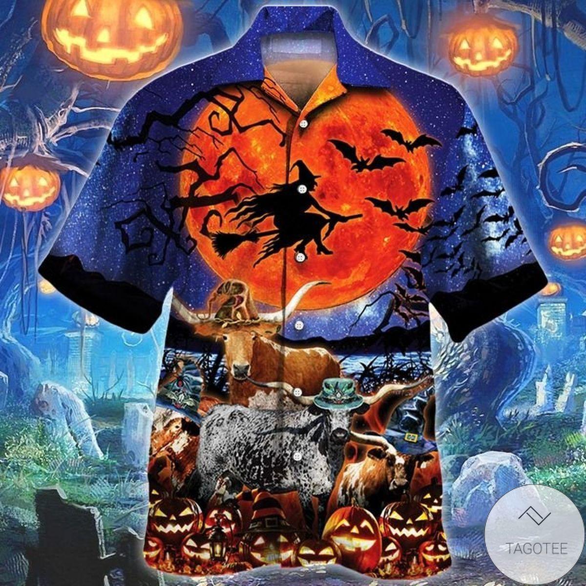 Texas Longhorn Cattle Lovers Halloween Night Hawaiian Shirt