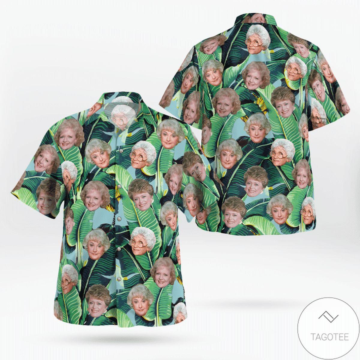 The Golden Girls Tropical Heads Banana Leaves Print Hawaiian Shirt