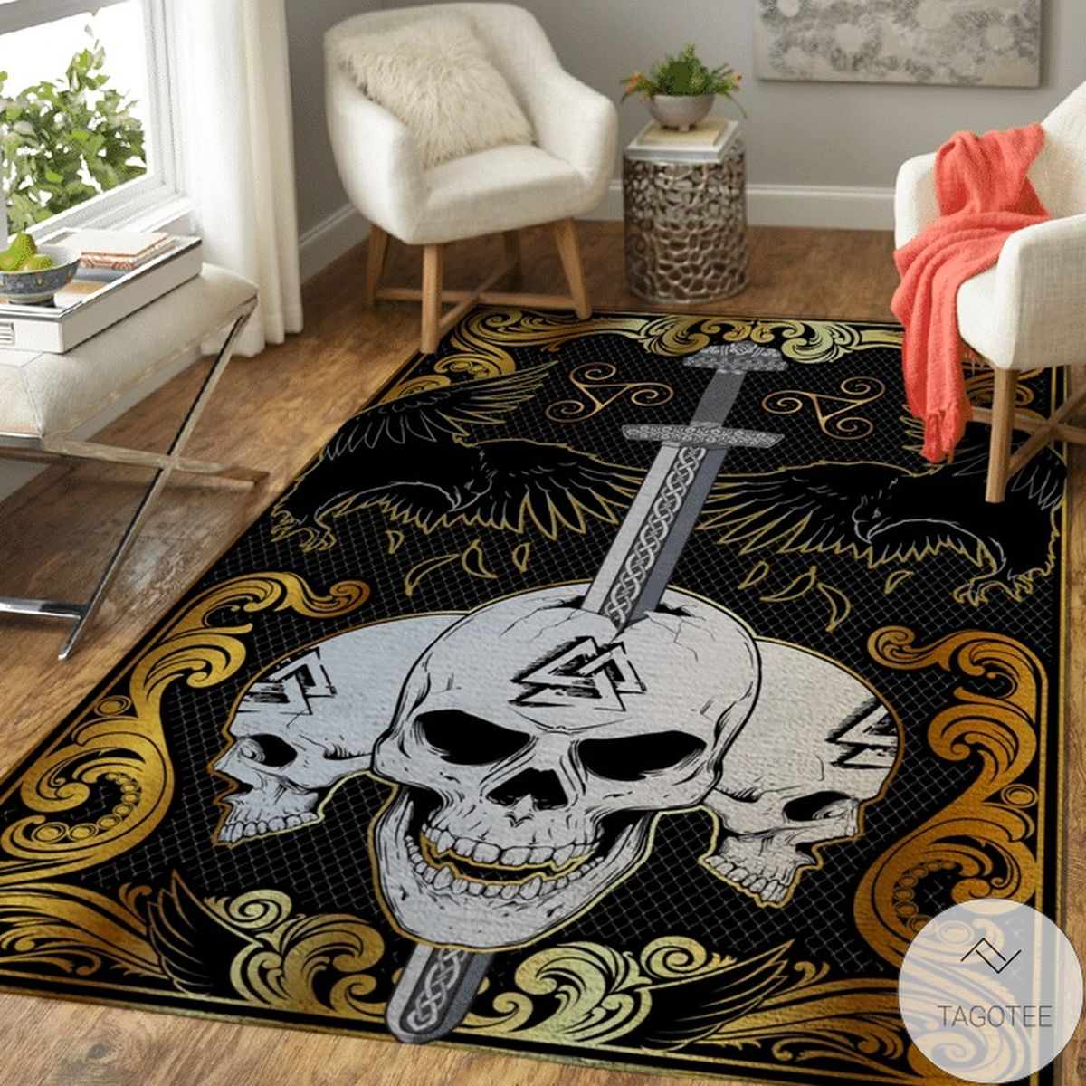 Mother's Day Gift The Ulfberht Sword Embedded In The Skulls - Viking Area Rug