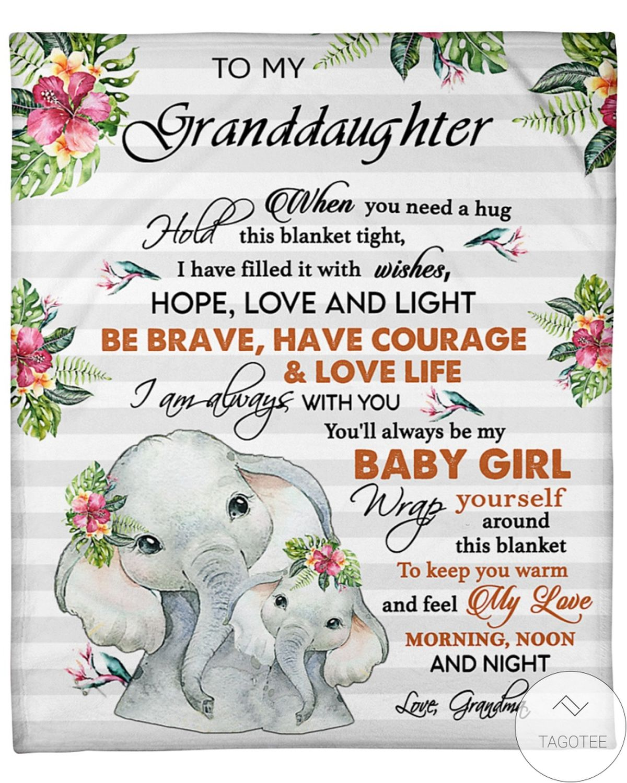 Excellent To My Granddaughter Elephants Blanket