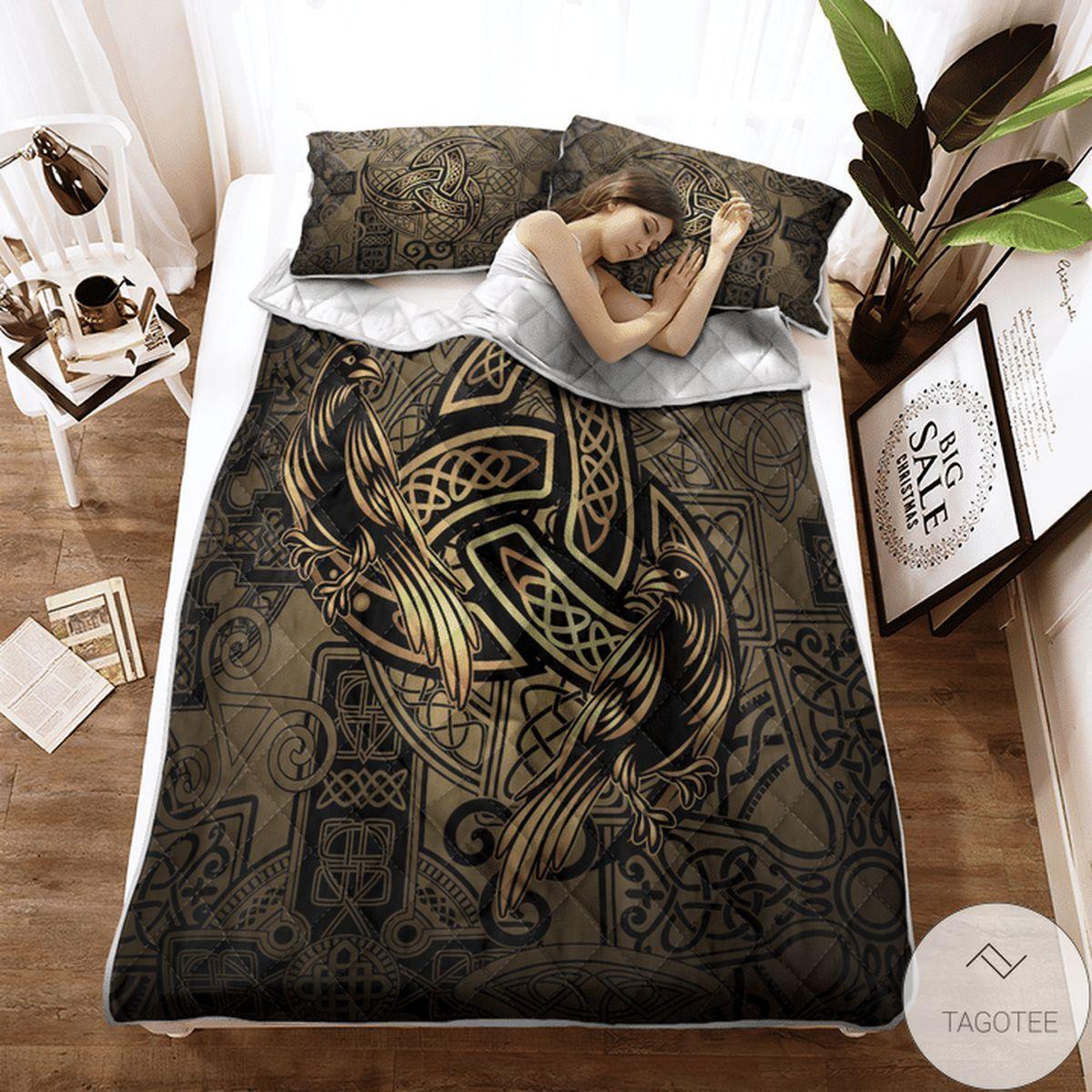 Nice Totem Birds Raven Huginn And Muninn Ravens Of Odin - Viking Quilt Bedding Set