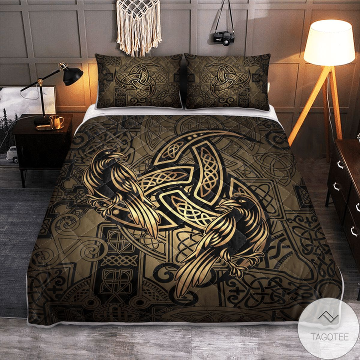 Us Store Totem Birds Raven Huginn And Muninn Ravens Of Odin - Viking Quilt Bedding Set