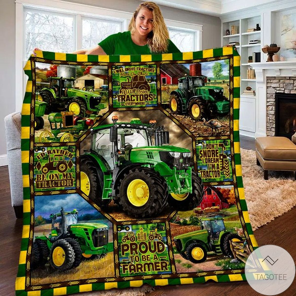 Tractor Proud To Be A Farmer Quilt