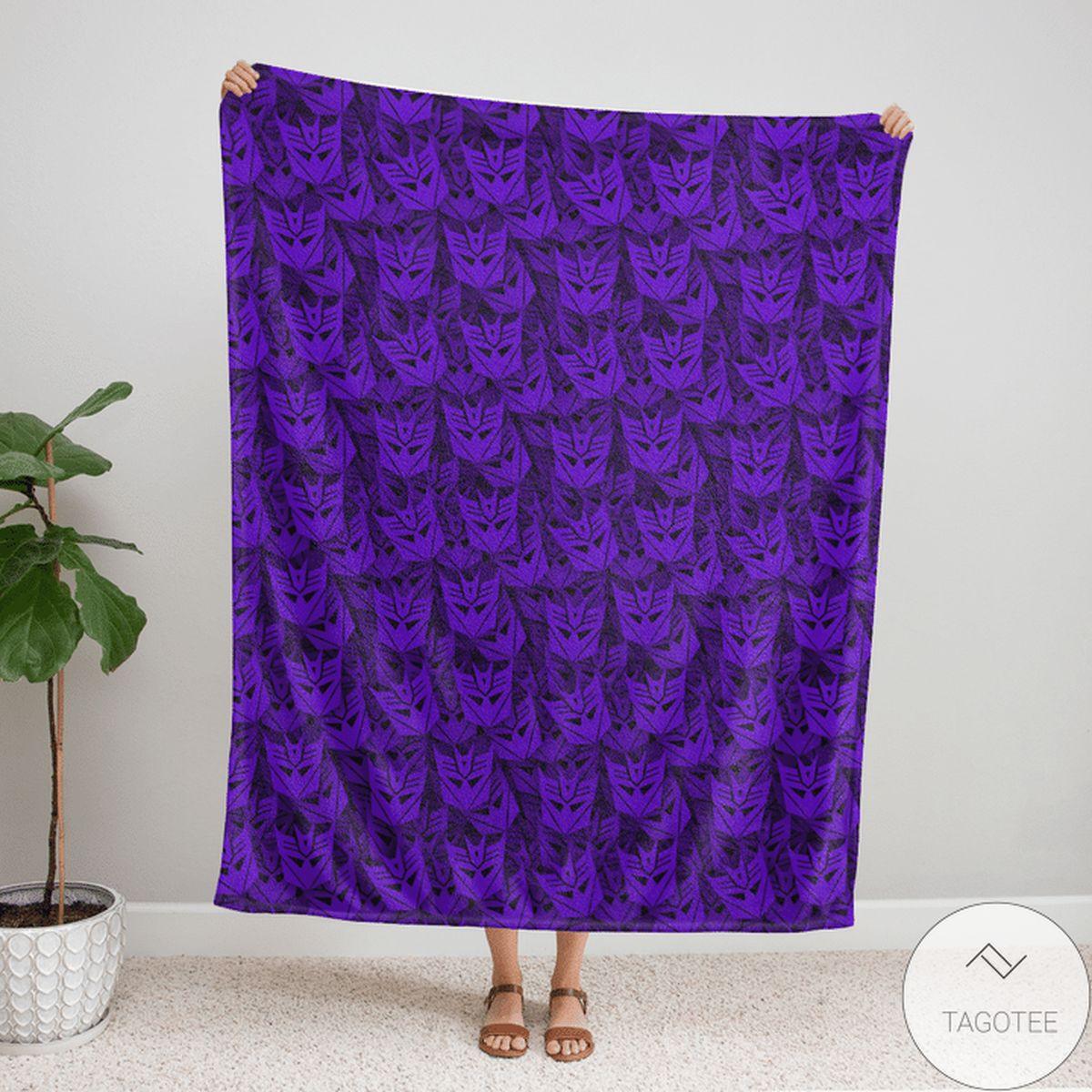 Transformer Pattern 80s Purple Blanket