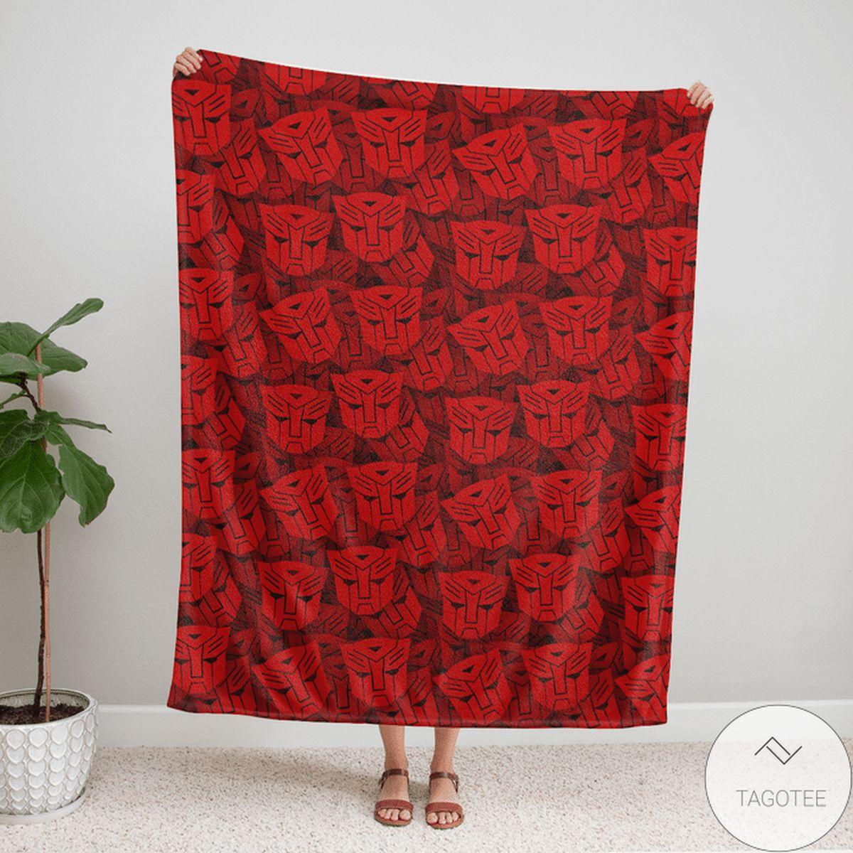 Transformer Pattern 80s Red Blanket